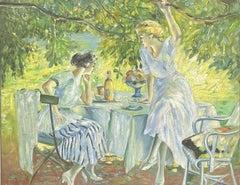 SIGNED FRENCH OIL - ELEGANT ART DECO LADIES ENJOYING PICNIC AT TABLE RIVER BANK