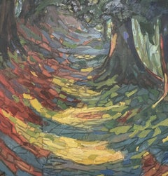 1960's French Fauvist Oil Painting - Avenue of Woodland Trees Dappled Light Path