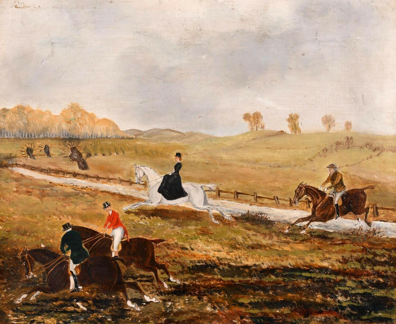19th Century English School Oil Painting - Hunting Scene Lady Side Saddle Horses