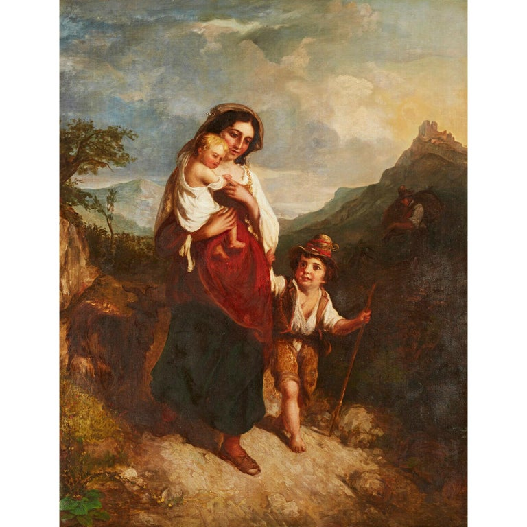 Huge 19th Century Italian Oil Painting Young Family on Mountain Pathway Sunset - Brown Landscape Painting by Italian artist