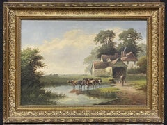 WILLIAM P. CARTWRIGHT (1855-1915) SIGNED OIL - CATTLE WATERING RIVER THAMES