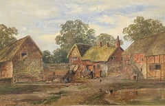 SIGNED VICTORIAN ENGLISH OIL PAINTING - FARMYARD SCENE OLD BUILDINGS -DATED 1875