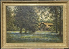 SIGNED ANTIQUE ENGLISH OIL PAINTING - BLUEBELL MEADOWS COUNTRY HOUSE LANDSCAPE