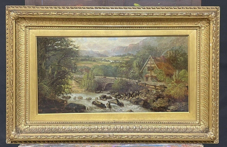 Victorian signed Figurative Painting - SIGNED VICTORIAN FRAMED OIL PAINTING - MOUNTAINOUS RIVER LANDSCAPE WITH FIGURES