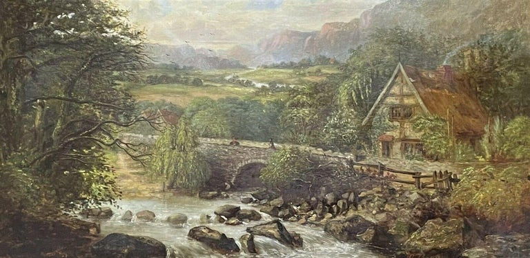 SIGNED VICTORIAN FRAMED OIL PAINTING - MOUNTAINOUS RIVER LANDSCAPE WITH FIGURES - Painting by Victorian signed