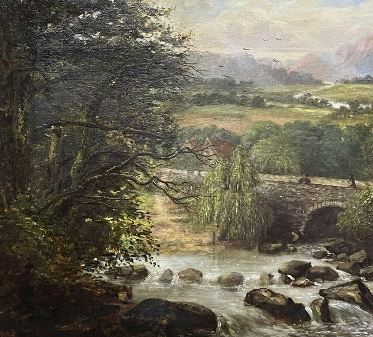 SIGNED VICTORIAN FRAMED OIL PAINTING - MOUNTAINOUS RIVER LANDSCAPE WITH FIGURES - Brown Figurative Painting by Victorian signed