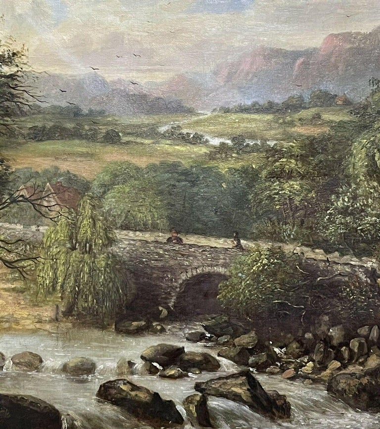 Artist/ School: signed, 'Barnes' (British School, 19th century), dated 1867.   Title: Mountainous River Landscape.   Medium: oil painting on canvas, framed.  Size:  painting: 11 x 21 inches, frame: 18 x 28.25 inches   Provenance: private collection,