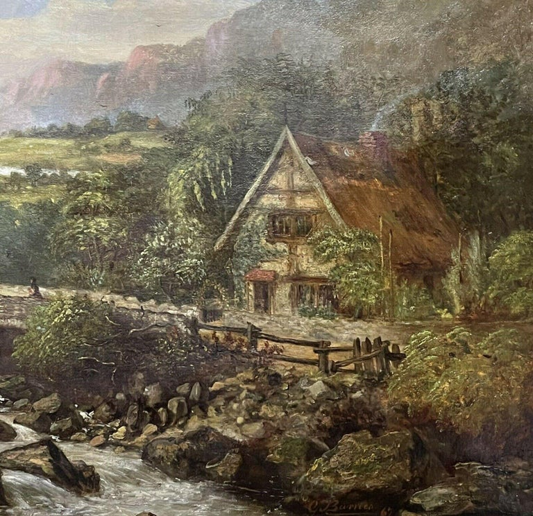 SIGNED VICTORIAN FRAMED OIL PAINTING - MOUNTAINOUS RIVER LANDSCAPE WITH FIGURES For Sale 1