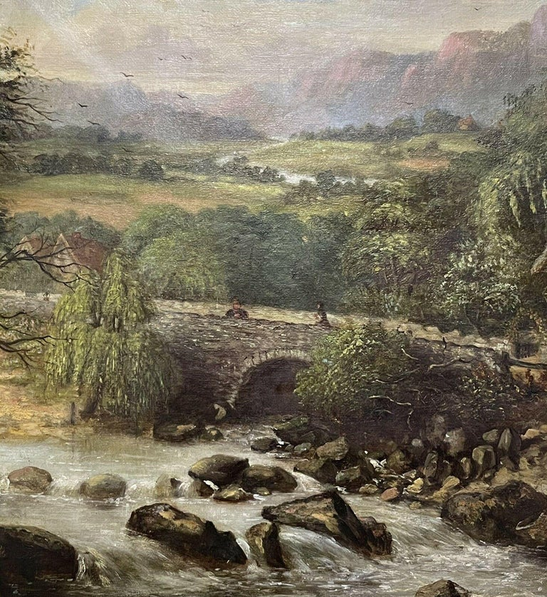 SIGNED VICTORIAN FRAMED OIL PAINTING - MOUNTAINOUS RIVER LANDSCAPE WITH FIGURES For Sale 2