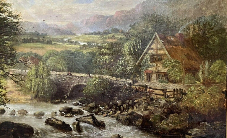 SIGNED VICTORIAN FRAMED OIL PAINTING - MOUNTAINOUS RIVER LANDSCAPE WITH FIGURES For Sale 3