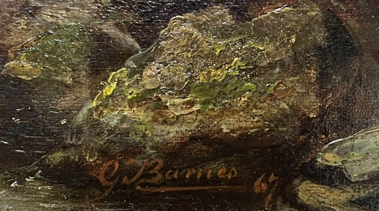 SIGNED VICTORIAN FRAMED OIL PAINTING - MOUNTAINOUS RIVER LANDSCAPE WITH FIGURES For Sale 4