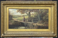 FINE VICTORIAN BRITISH OIL PAINTING - FIGURE ON WOODEN BRIDGE RIVER LANDSCAPE