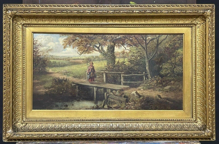 Victorian artist Landscape Painting - FINE VICTORIAN BRITISH OIL PAINTING - FIGURE ON WOODEN BRIDGE RIVER LANDSCAPE
