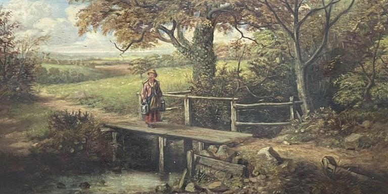 FINE VICTORIAN BRITISH OIL PAINTING - FIGURE ON WOODEN BRIDGE RIVER LANDSCAPE - Painting by Victorian artist