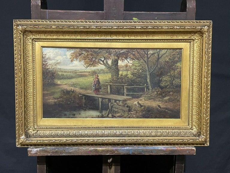 FINE VICTORIAN BRITISH OIL PAINTING - FIGURE ON WOODEN BRIDGE RIVER LANDSCAPE - Victorian Painting by Victorian artist