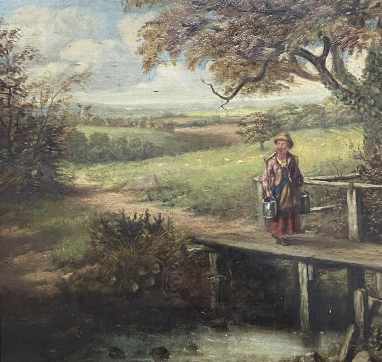 Artist/ School: British School, 19th century  Title: Crossing the Old Bridge  Medium: oil painting on canvas, framed.  Size: painting: 11 x 21 inches, frame: 18 x 28.25 inches   Provenance: private collection, England  Condition: The painting is in