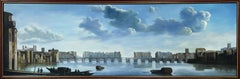 ENORMOUS SIGNED OIL PAINTING - HISTORICAL RIVER THAMES LONDON SKYLINE PANORAMIC