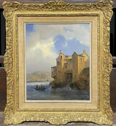 FINE 19TH CENTURY SIGNED OIL - SAILING OFF DIEPPE HARBOUR CHOPPY SEAS - FRAMED