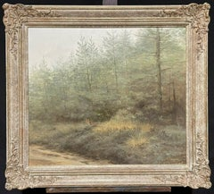 VERY LARGE DUTCH IMPRESSIONIST OIL - FOX HIDING IN WOODLAND COUNTRYSIDE FIELD