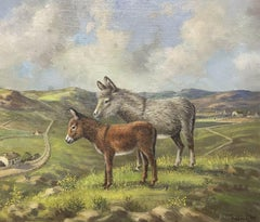 VINTAGE IRISH SIGNED OIL PAINTING - DONKEYS STANDING IN CO. DOWN LANDSCAPE FIELD