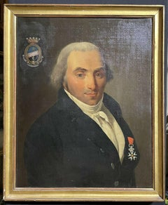 18th CENTURY FRENCH LARGE PORTRAIT OIL PAINTING - PORTRAIT OF AN ARISTOCRAT GENT