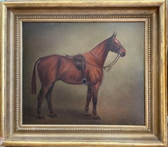 1920's Classic British Sporting Art Oil Painting Chestnut Horse in Stable