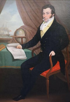 ANGLO-AMERICAN SCHOOL C. 1820'S - PORTRAIT OF MERCHANT ON SHIP WITH GLOBE & MAP