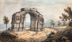 18th CENTURY FRENCH GRAND TOUR WATERCOLOUR - ROMAN MONUMENT ST. REMY PROVENCE