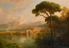 William Havell (1782-1857) Large Grand Tour Oil Painting Lake Avernus at Naples