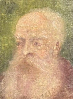 19th Century French Impressionist Period Oil Painting - Portrait of Bearded Man