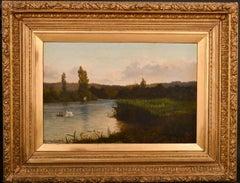 JOHN JOSEPH HUGHES (1820-1909) SIGNED 1882 OIL PAINTING - TRANQUIL RIVER DUSK