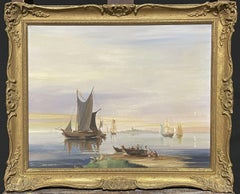 MICHAEL SEDGWICK SIGNED ORIGINAL OIL PAINTING - SHIPPING IN CALM COASTAL WATERS