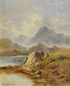VICTORIAN SCOTTISH OIL PAINTING - ANGLERS BESIDE HIGHLAND LOCH & MOUNTAINS