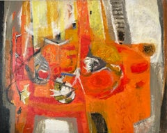 Huge Mid 20th Century French Abstract Expressionist Oil Painting Orange Reds