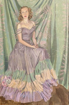 1940's ENGLISH SIGNED OIL - PORTRAIT OF A LADY IN ELEGANT DRESS - GREENS & PINKS