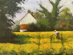 Maurice Crawshaw (b.1947) Signed Impressionist Oil - Lady in Yellow Gold Meadows