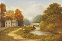 TRADITIONAL ENGLISH OIL PAINTING - FIGURES BY RIVER OLD STONE BRIDGE & COTTAGE