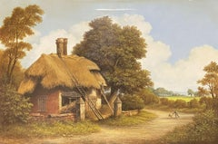 TRADITIONAL ENGLISH SIGNED OIL PAINTING - FIGURES BY OLD THATCHED COTTAGE