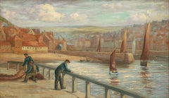 VICTORIAN SIGNED OIL PAINTING - WHITBY FISHERMEN STANDING ON EAST PIER HARBOUR