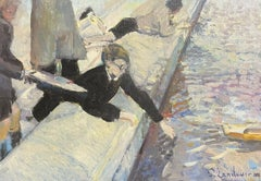 FRENCH IMPRESSIONIST SIGNED OIL - PLAYING WITH TOY BOATS ON CITY POND IN PARIS