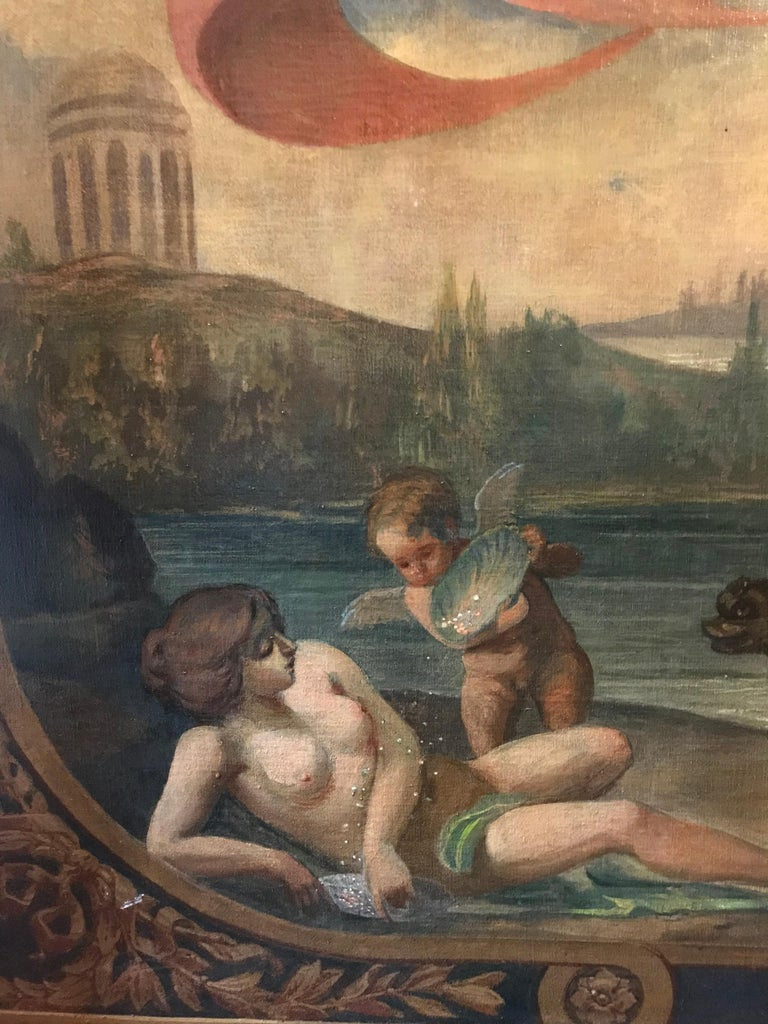 Amphitrite & The Cherubs - Enormous 18th Century Italian Classical Oil Painting For Sale 6
