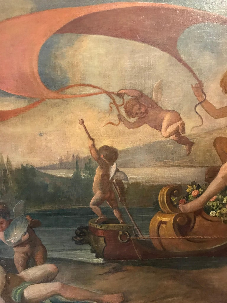 Amphitrite & The Cherubs - Enormous 18th Century Italian Classical Oil Painting For Sale 8