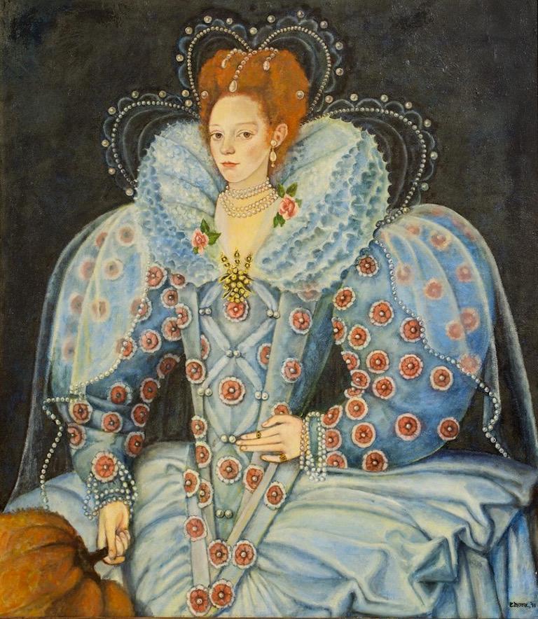 E Moore Queen Elizabeth 1 Huge English Portrait Oil Painting On