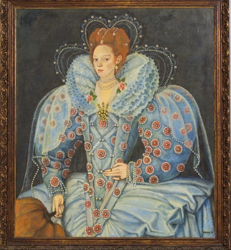 E Moore Queen Elizabeth 1 Huge English Portrait Oil