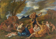 Party in Honour of Bacchus, Large Oil Painting on Canvas by Louvre Copyist