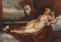 Venus and Cupid with a dog, Large Oil Painting on Canvas by Louvre Copyist