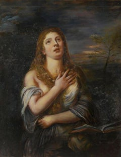 Marie Magdalene, Large Oil Painting on Canvas by Louvre Copyist
