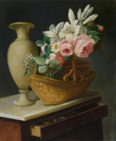 Flower Vase in an Interior Scene, Large Oil Painting on Canvas by Louvre Copyist