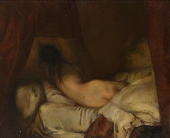 Nude Woman Lying Down, Large Oil Painting on Canvas by Louvre Copyist