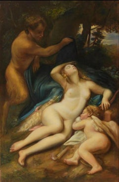Sleeping Nymph and Love, Large Oil Painting on Canvas by Louvre Copyist